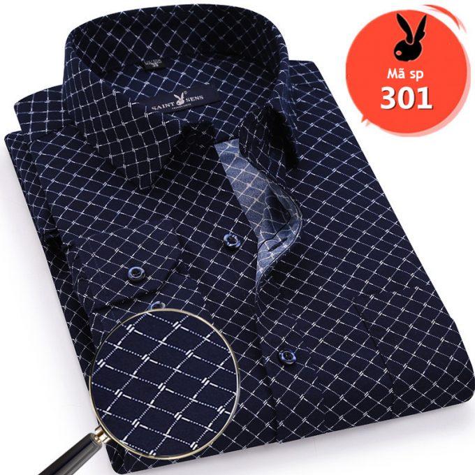 Áo sơ mi nam dài tay họa tiết lưới màu xanh đen