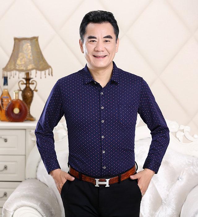 áo sơ mi họa tiết chấm bi dành cho nam trung niên